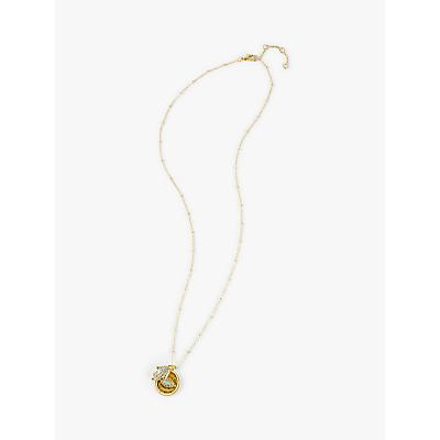 hush Mano Hamsa Hand Glass Crystal and Turquoise Pendant Necklace, Gold