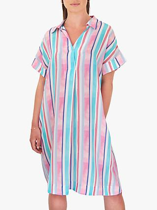 NRBY Shelly Silk Knee Length Striped Shirt Dress, Multi