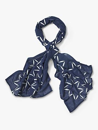 White Stuff Luna Embroidered Scarf, Navy