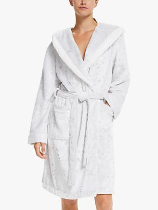 John Lewis & Partners Foil Star Hooded Fleece Robe, Grey