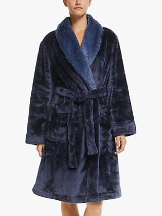 John Lewis & Partners Faux Fur Trim Shawl Collar Robe, Navy