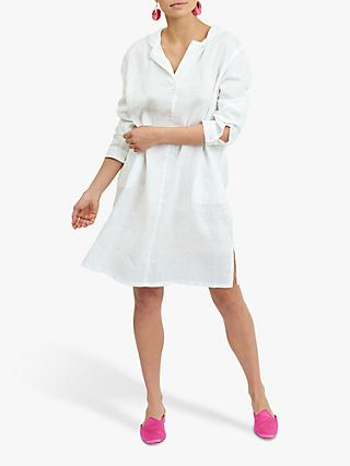 NRBY Sophie Linen Hooded Dress, White