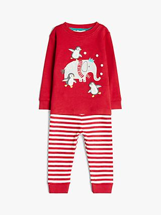 John Lewis & Partners Baby GOTS Organic Cotton Elephant Applique Stripe Pyjamas, Red