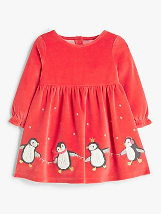 John Lewis & Partners Baby Organic Cotton Penguin Dress, Red