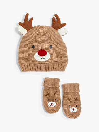 Buy John Lewis & Partners Children's Reindeer Hat And Mittens Set, Brown, 0-6 months Online at johnlewis.com