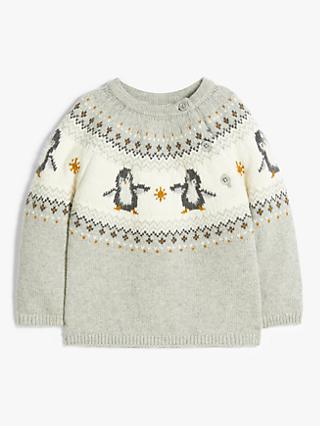 John Lewis & Partners Baby Penguin Fair Isle Jumper, Multi