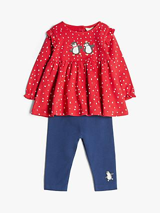 John Lewis & Partners Baby Organic Cotton Penguin Top and Leggings Set, Red