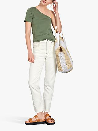 hush One Shoulder Tee, Khaki
