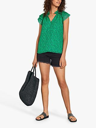 hush Gigi Leopard Print Frill Sleeve Top, Green