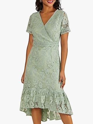 Yumi Floral Lace Frill Dress, Green