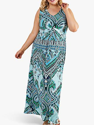 Yumi Curves Scarf Print Maxi Dress, Blue
