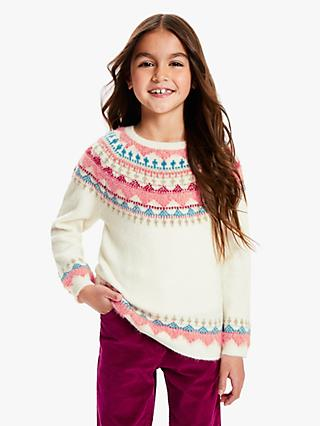 John Lewis & Partners Girls' Fair Isle Jumper, Ivory