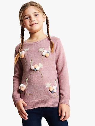 John Lewis & Partners Girls' Ostrich Jumper, Light Pink