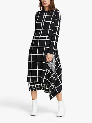 Mother of Pearl ECOVERO™ Mixed Check Tiered Dress, Black/Ivory