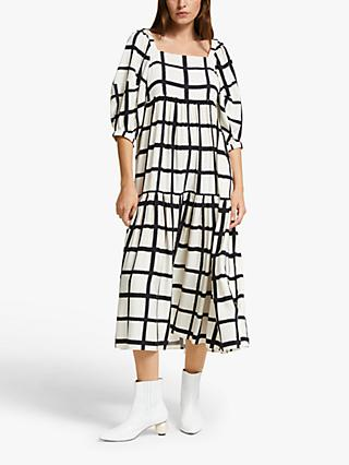 Mother of Pearl ECOVERO™ Windowpane Puff Sleeve Dress, Black/Ivory