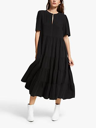 Mother of Pearl Tencel™ Pintuck Tiered Dress, Black