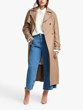Mother of Pearl Organic Cotton Pleat Back Trench Coat, Mink
