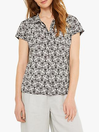 White Stuff Harbour Abstract Blouse, Grey