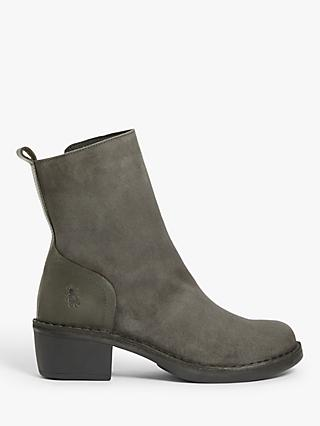 Fly London Moba Suede Heeled Ankle Boots, Diesel Grey