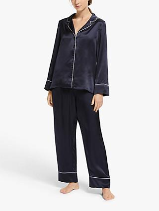 John Lewis & Partners Alyssa Piped Silk Pyjama Set, Navy