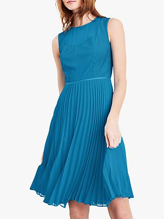 Damsel in a Dress Edyth Knife Pleat Sleeveless Dress, Turquoise