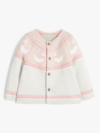 John Lewis & Partners Heirloom Collection Baby Swan Fair Isle Knit Cardigan