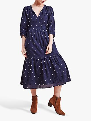 East Eva Embroidered Spot Dress, Navy