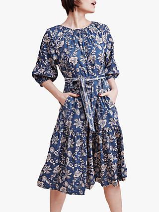 East Daria Floral Print Midi Dress, Blue/Multi