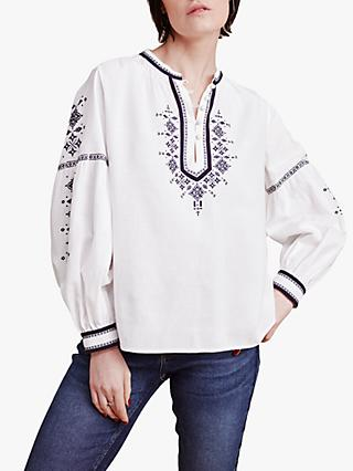 East Aliya Embroidered Blouse, White
