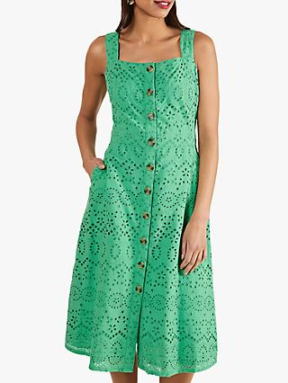Yumi Frederica Broderie Anglaise Sun Dress, Green