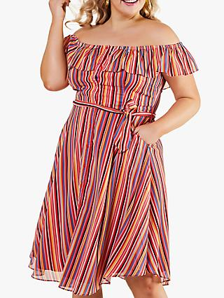 Yumi Curves Bardot Tie Belt Rainbow Stripe Midi Dress