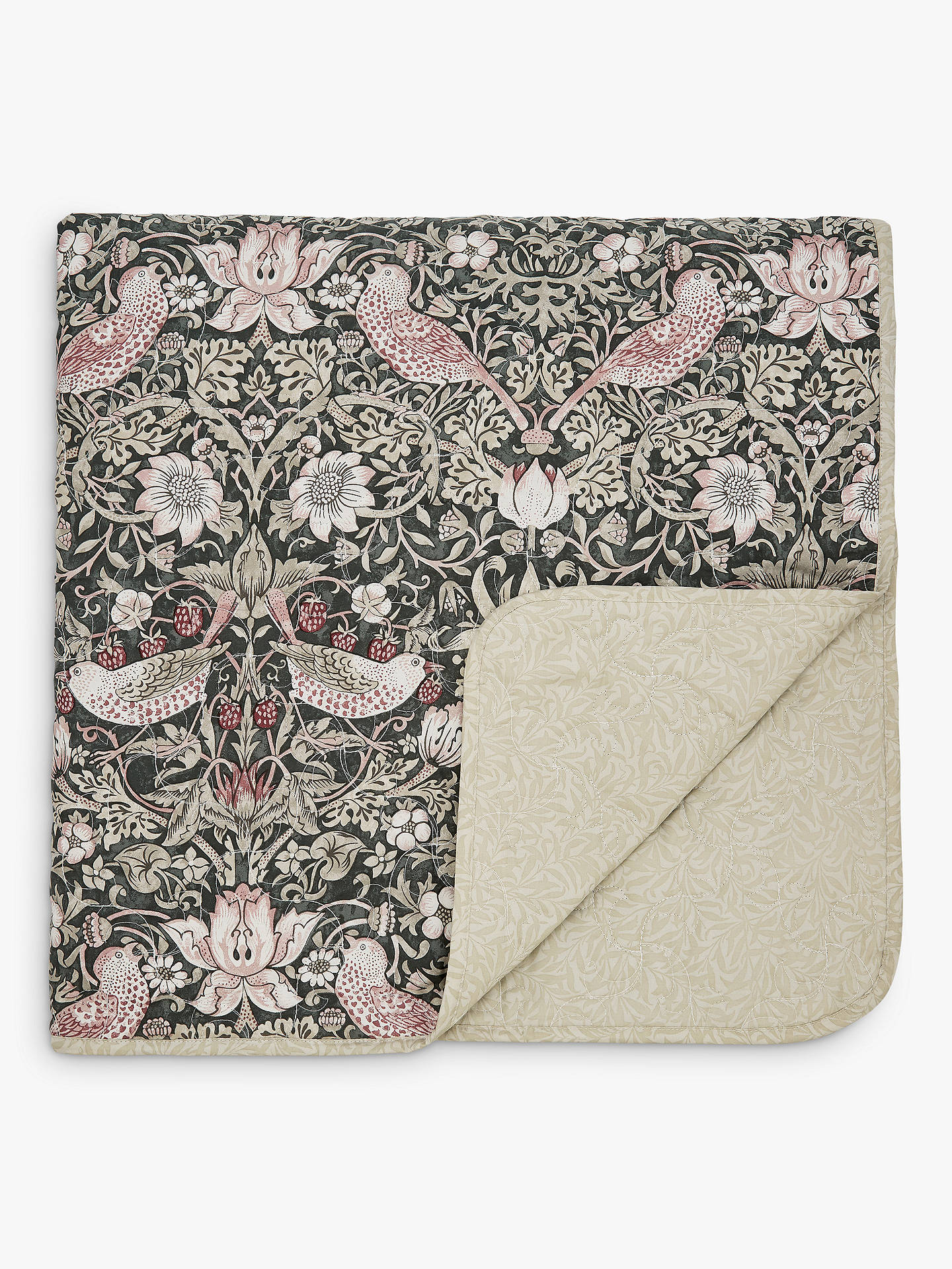 Buy Morris & Co. Strawberry Thief Bedspread, Charcoal / Blush Online at johnlewis.com