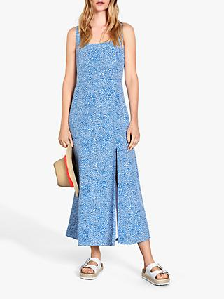 hush Surin Tea Mini Heart Print Maxi Dress, Blue