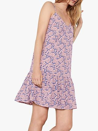 hush Luisa Frill Floral Fan Print Mini Dress, Pink