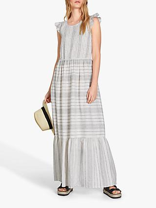 hush Fonda Linen Stripe Maxi Dress, White/Navy