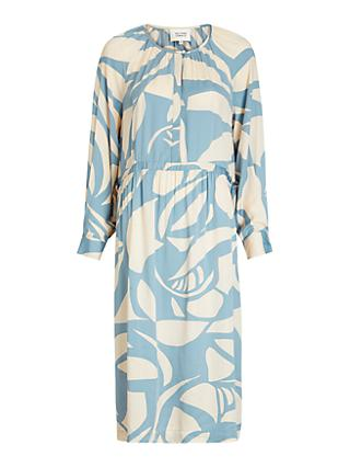 Second Female Mala Abstract Print Midi Dress, Blue