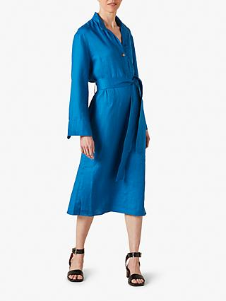 Jigsaw Utility Shirt Midi Dress, Aegean Blue