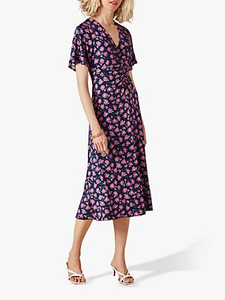 Jigsaw Ruched Detail Leaves Print Midi Dress, Purple/Multi