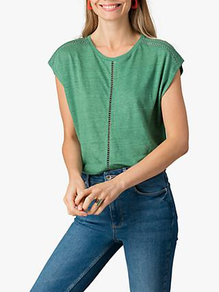 Jigsaw Pointelle Linen Top, Eden Green