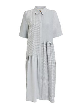 Numph Check Shirt Midi Dress, Black/White