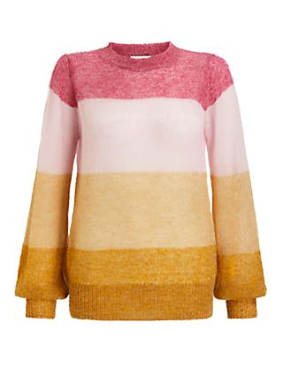 Numph Nubrielle Stripe Jumper, Lilac Rose/Multi