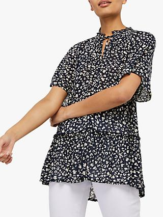 Monsoon Natalie Abstract Print Tunic Top, Navy/White