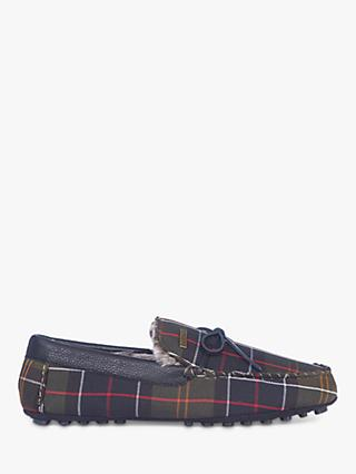 Barbour Tueart Recycled Classic Tartan Slippers, Black/Green