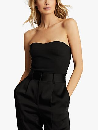Reiss Bobbi Cropped Bustier Top, Black