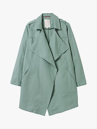 White Stuff Dolly Linen and Cotton Open Neck Jacket, Dark Teal