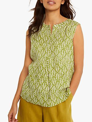 White Stuff Sleeveless Leaf Print Linen Top, Olive/White