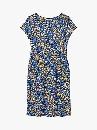 White Stuff Esther Abstract Print Jersey Dress, Blue/Yellow