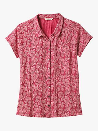 White Stuff Harbour Abstract Print Linen Shirt, Rose Red