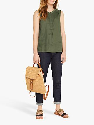 White Stuff Sleeveless Linen Top, Khaki