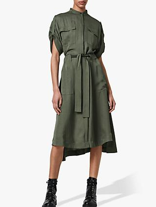 AllSaints Luciana Midi Shirt Dress, Utility Green